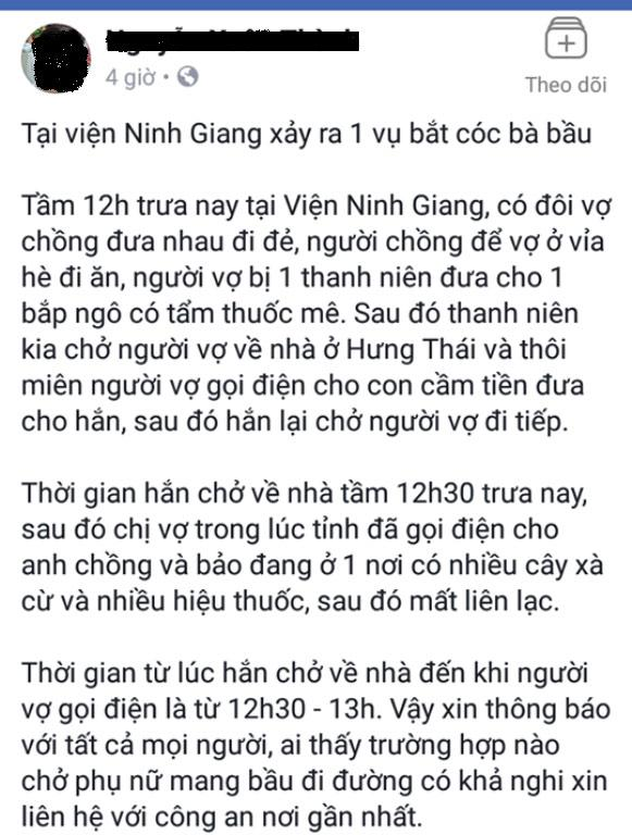 san phu di kham thai cung chong mat tich bi an, ro tin don bi danh thuoc me, bat coc - 1