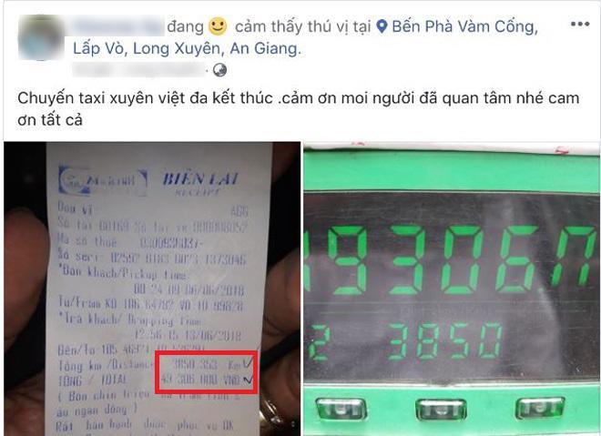 chuyen taxi ky luc het 49 trieu tien cuoc chay mot mach tu an giang-ha noi - 1