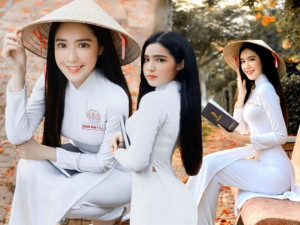 Hot girl miền Tây được báo quốc tế khen ngợi đẹp dịu dàng, gợi cảm bên tà áo dài trắng
