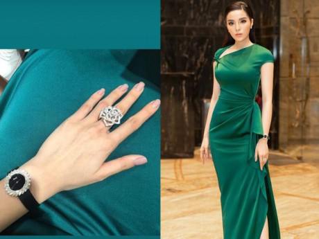 """Hoa hậu Kỳ Duyên lại gây xôn xao khi """"đắp kim cương lên người"""""""